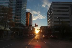 Sunset at Edmontonhenge