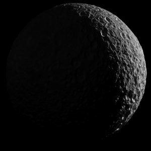 Mimas in Saturnlight