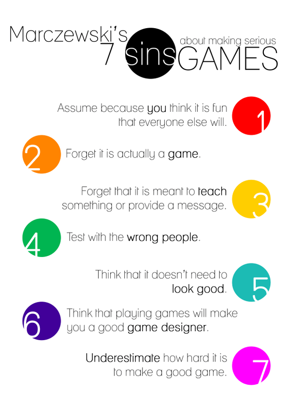 7 deadly sins of serious game design From Alois Bourguenolle