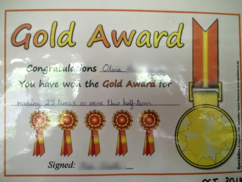 Gold Award for reading 35 times in a term