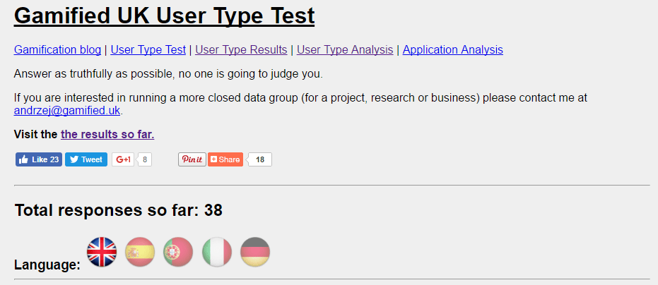 Test New Gamification User Type Test