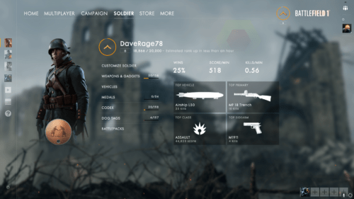 Dashboard 500x281 Learning From Games Battlefield 1 RAMP User Types and Awesome Gaming
